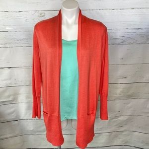 Chico's Additions Coral Knit Cardigan w/ Pockets